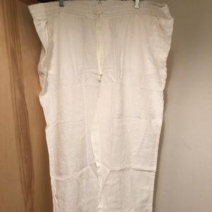 NWT Caslon 100% linen white pants in 24 w/ pockets